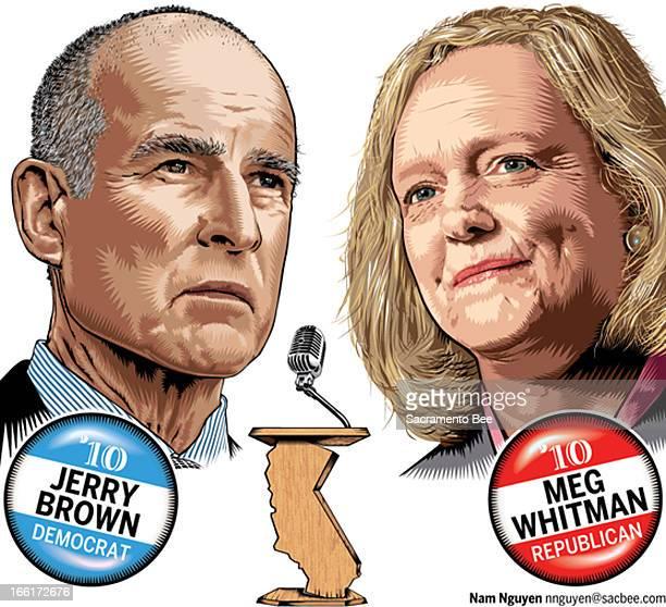 Nam Nguyen portrait of California gubernatorial candidates Jerry Brown and Meg Whitman .
