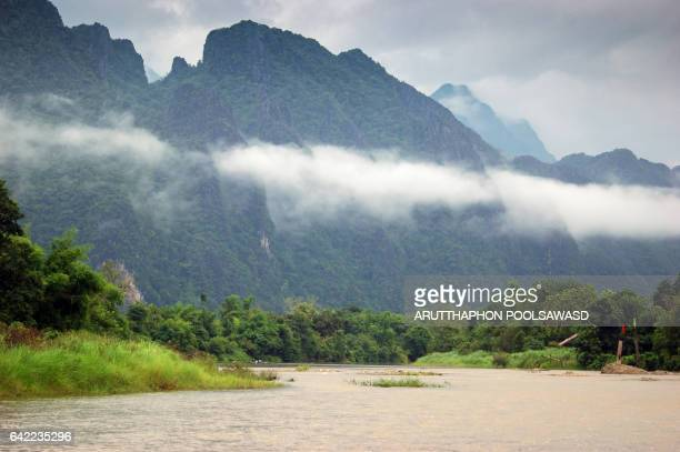 Nam song river and mountain view in Vang vieng Laos
