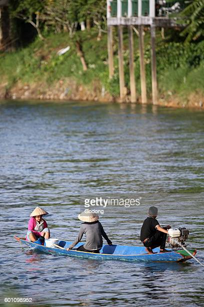 Nam Song river Long tail boat Vang Vieng Laos