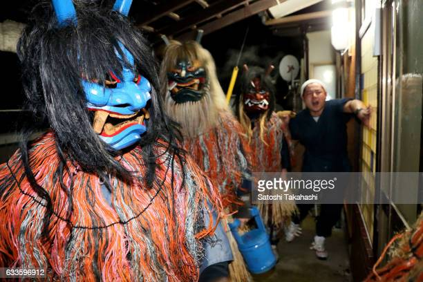 Namahage deities go around visiting the houses of Sugoroku district while shouting loudly to people Are there any crying children here Any children...