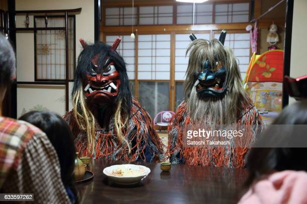 Namahage deities were given a warm reception by a family of Sugoroku district during the Namahage festival of traditional folk event on New Year's...