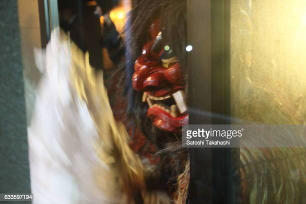 Namahage deity goes around visiting the houses of Sugoroku district while shouting loudly to people Are there any crying children here Any children...