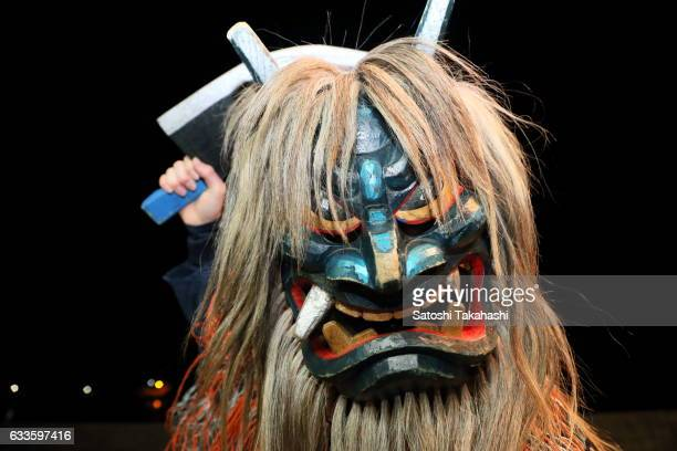 Namahage deity shouting to people Are there any crying children here Any children who dont keep the teaching of their parents and Any lazy people who...