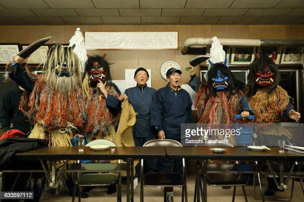 Namahage players roar for the start of the Namahage festival of traditional folk event on New Year's Eve This folk event has been passed down from...