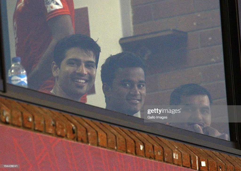 Naman Ojha (L) and Pawan Negi (C) of the Delhi Daredevils are seen during the CLT20 match between Auckland Aces and Delhi Daredevils from Sahara Stadium Kingsmead on October 19, 2012 in Durban, South Africa.