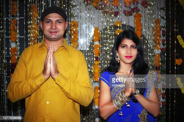 namaste hälsningar på diwali festival - prayer pose greeting bildbanksfoton och bilder