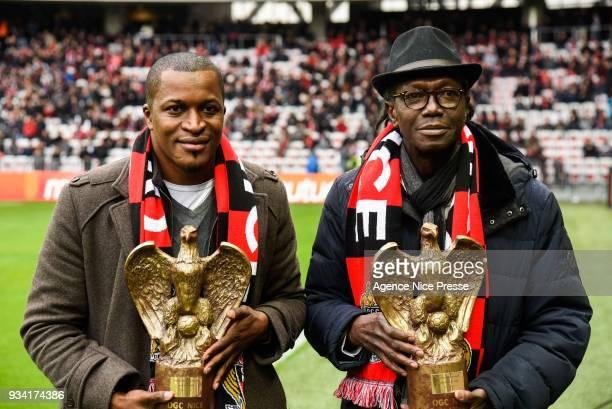 Nambatingue Toko and Kaba Diawara former players of Nice during the Ligue 1 match between OGC Nice and Paris Saint Germain at Allianz Riviera on...
