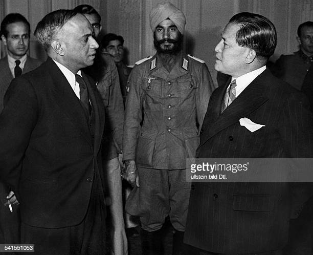 Nambiar, A. C. N. - Politician, Diplomat, IndiaHead of the 'Central Commission Free India'with the Japanese ambassador Hiroshi Oshima on a reception...