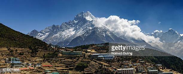 Namche Barzaar Village with Thamserku(6,608 m) mountain background panorama.