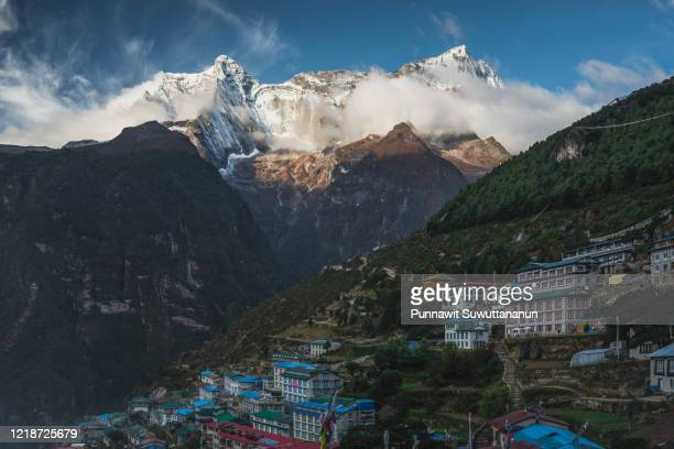 namche bazaar in a morning sunrise, biggest village in everest region, himalaya mountains range in nepal - khumbu stock pictures, royalty-free photos & images