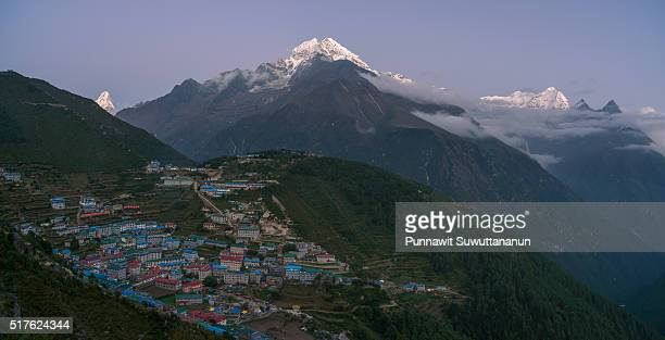 Namche Bazaar village in the night, Everest region