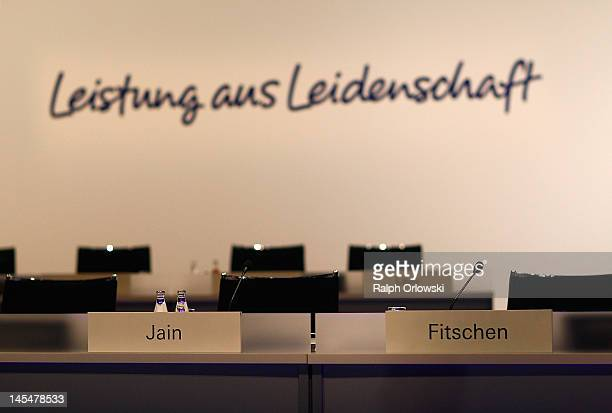 Name badges of the new dual CEO's Anshu Jain and Juergen Fitschen at the Deutsche Bank general shareholders' meeting on May 31 2012 in Frankfurt...
