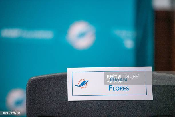 Name card behind the seat of Brian Flores the new head coach of the Miami Dolphins announce Brian Flores as their new Head Coach at Baptist Health...