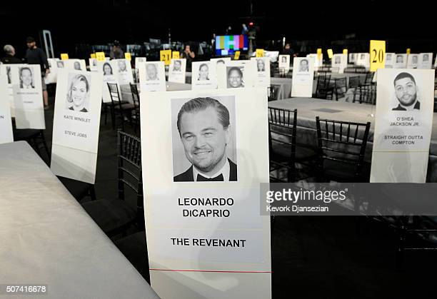 Name cards are displayed during the 22nd Annual Screen Actors Guild Awards Red Carpet RollOut and BehindTheScenes at the Shrine January 29 in Los...
