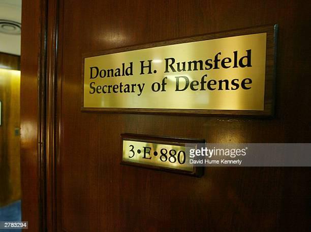 A name plate adorns the entrance to US Secretary of Defense Donald Rumsfeld's office at the Pentagon November 20 2003 in Arlington VA