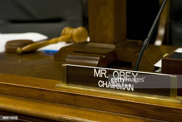 Name plate and gavel for Chairman David R Obey DWis during a break in the House Appropriations markup of the fiscal 2009 war supplemental...
