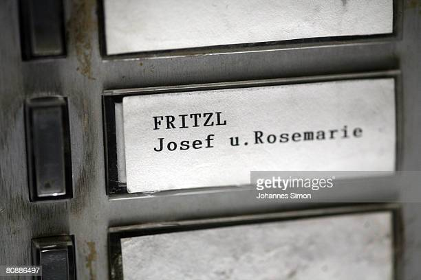 Name plate of Josef Fritzl the father who imprisoned his daughter for 24 years and had seven children with her seen on April 28 2008 in Amstetten...