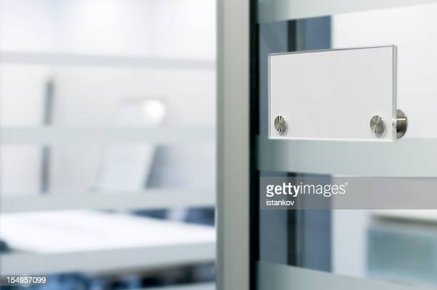 Name tag on office door