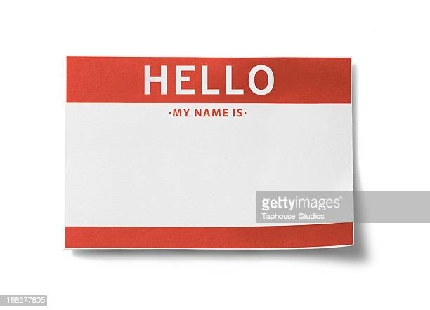 name tag (with clipping paths) - greeting stock pictures, royalty-free photos & images