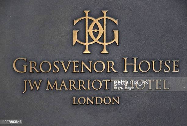 Nameplate for Grosvenor House in Park Lane. Many of London's 5 star Luxury Hotels which are world renowned are still closed, despite the government's...