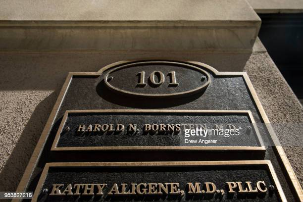 A nameplate hangs near the front door to the office of Dr Harold Bornstein who was previously President Donald Trump's longtime personal physician...
