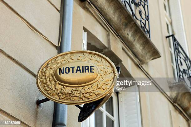 nameplate of a French notary