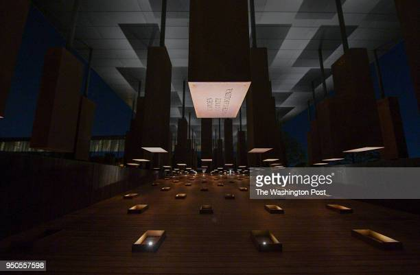 Names and dates of lynching victims are inscribed on corten steel monuments at The National Memorial for Peace and Justice on April 20 2018 in...