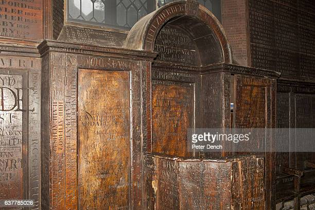 Names carved into the wall of an historic room at Harrow School Harrow School is an English independent school for boys situated in the town of...