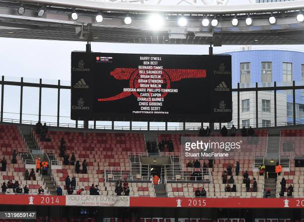 Names of Arsenal supporters who've passed on the big screen at Emirates Stadium after the Premier League match between Arsenal and Brighton & Hove...