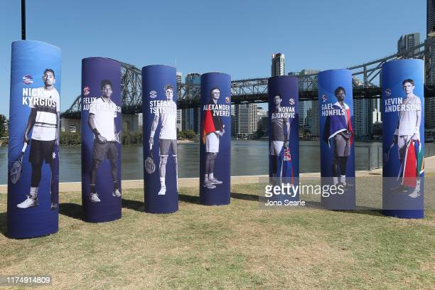 Names of players from participating countries are displayed in Brisbane for the 2020 ATP Cup are seen during the 2020 ATP Cup Draw on September 16...