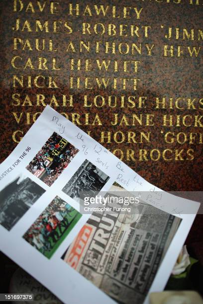 Names of some of the victims are inscribed on the Hillsborough Memorial at Anfield Stadium the home of Liverpool Football Club on September 10 2012...
