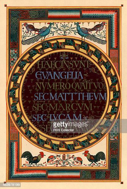 Names of the four Evangelists c800 AD The names of the gospel writers Matthew Mark Luke and John in a roundel with cockerels and peacocks From the...