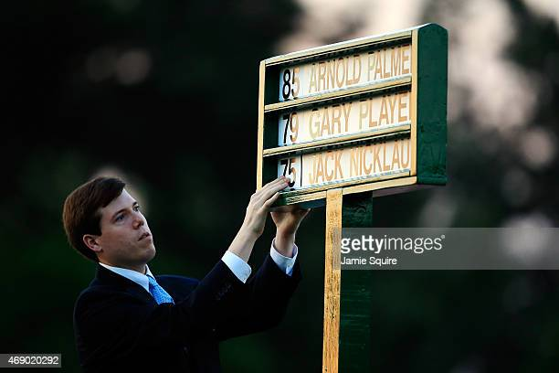 Names of the Honorary Starters are placed in a standard on the first tee during the first round of the 2015 Masters Tournament at Augusta National...