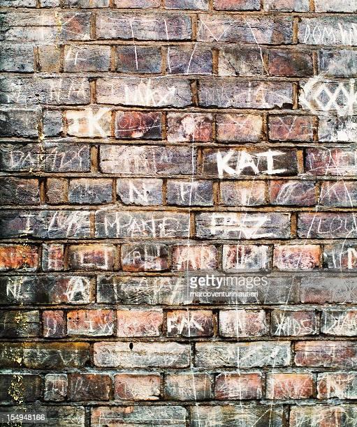 Names on a brickwall, handwritten like graffiti