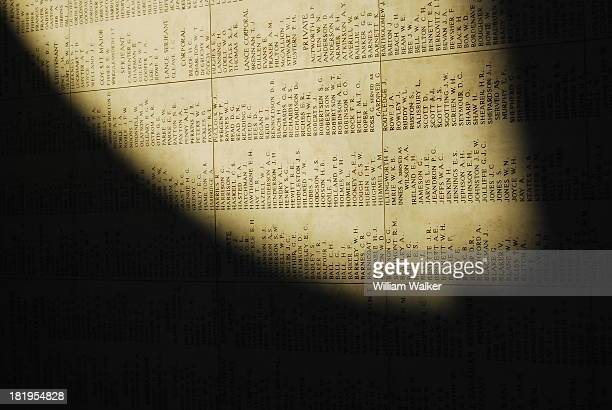 Names on the wall of The Menin Gate, Memorial to the missing of the First World War who have no known graves. Ypres , Belgium. The Menin Gate...