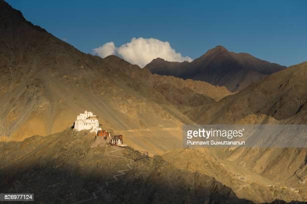 Namgail Tsemo monastery at sunset, Landmark of Leh city, Ladakh,Jammu Kashmir, India