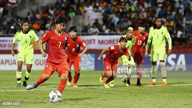 Namgung Yeji of Korea Republic scores a goal from the penalty spot during the FIFA U20 Women's World Cup Papua New Guinea 2016 Group D match between...