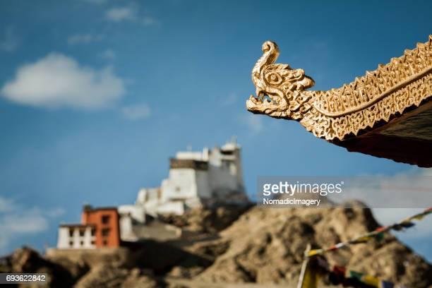 Namgyal Tsemo Gompa with golden dragon