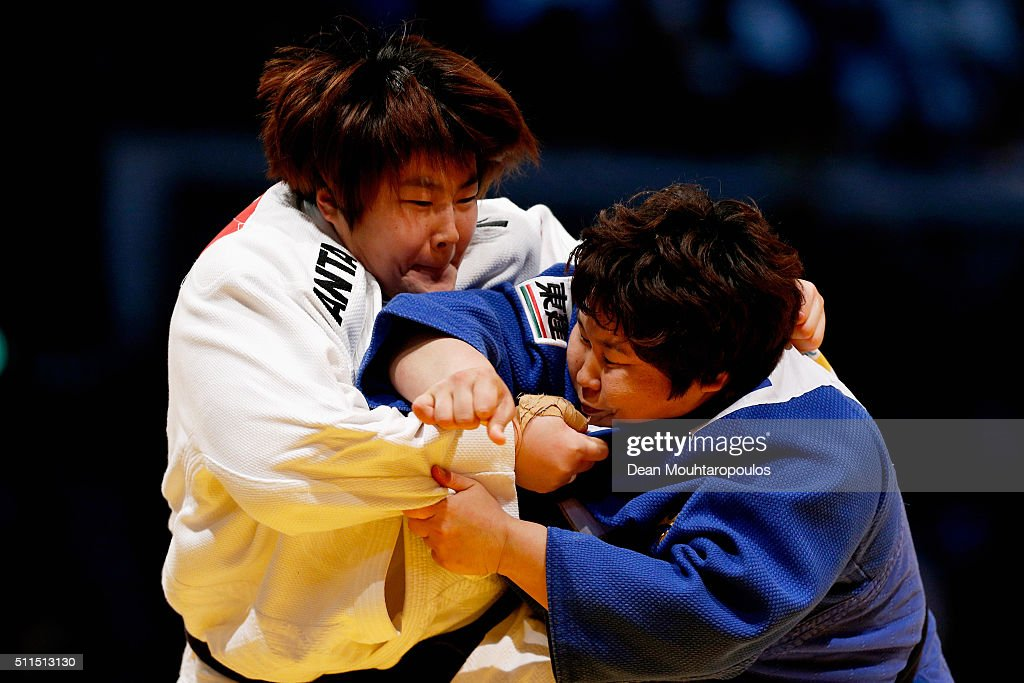 Nami Inamori (blue top) of Japan and Song Yu of China compete during the Dusseldorf Judo Grand Prix in their Womens +78kg bout held at Mitsubishi Electric Halle on February 21, 2016 in Dusseldorf, Germany.