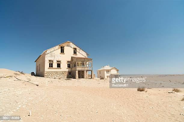 Namibia, houses of diamond ghost town Kolmanskop at Namib desert