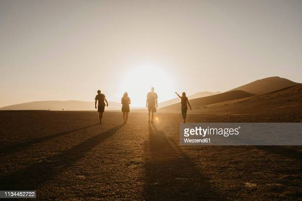 namibia, namib desert, namib-naukluft national park, sossusvlei, friends walking at dune 45 at sunrise - tegenlicht stockfoto's en -beelden