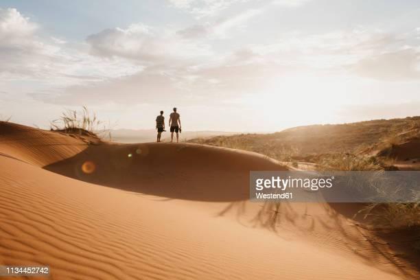 namibia, namib desert, namib-naukluft national park, sossusvlei, two men standing on elim dune at sunset - entfernt stock-fotos und bilder