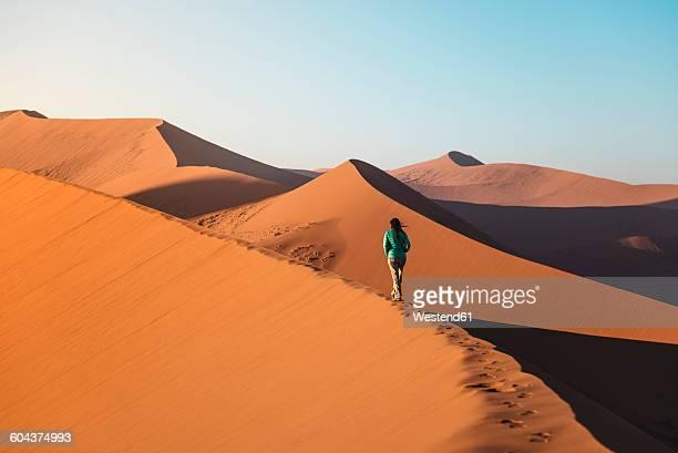 namibia, namib desert, sossusvlei, woman walking on dune 45 at sunrise - ナミブ砂漠 ストックフォトと画像