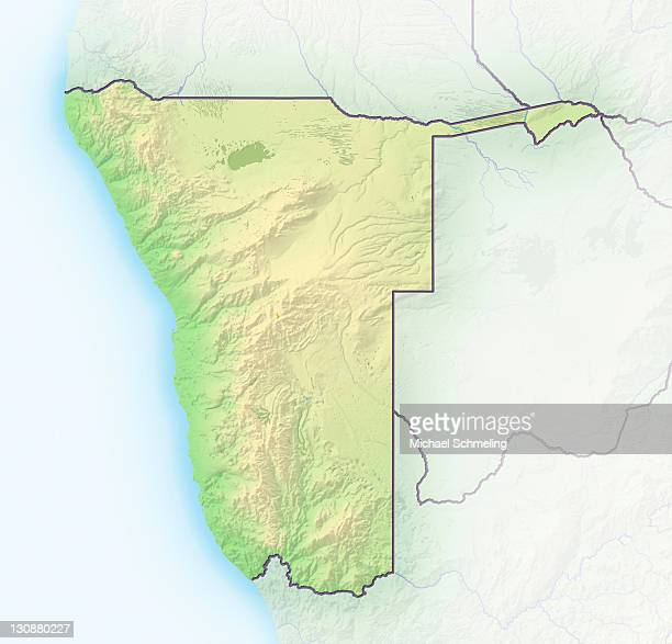 Namibia, shaded relief map