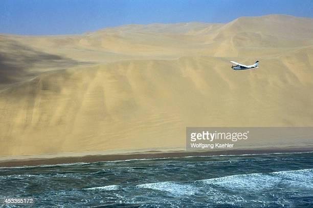 Namibia Skeleton Coast National Park Plane Flying Along Coast Sand Dunes