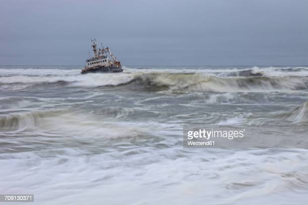 Namibia, Skeleton Coast, ship wreck boat near Swakopmund