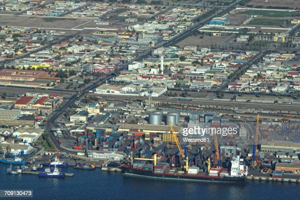 namibia, skeleton coast, walvis bay, aerial view of freight harbor - walvis bay stock photos and pictures