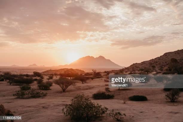 Namibia, Spitzkoppe, desert landscape at sunset