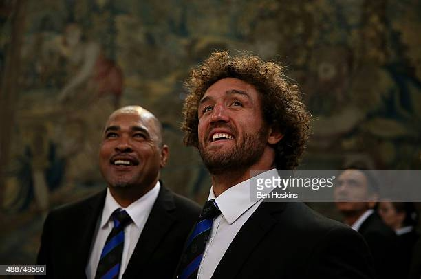 Namibian Captain Jacques Burger looks on during a tour of Hampton Court Palace at the RWC 2015 Welcome Ceremony for Namibia at Hampton Court Palace...