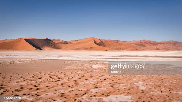砂丘ナミビアパノラマの前にsuvを持つナミビア砂漠のハイウェイ - front view ストックフォトと画像